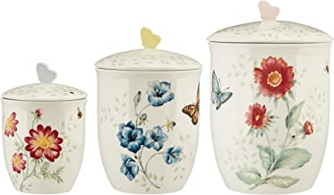 Lenox 813478 3 Piece Butterfly Meadow Canister Set, White