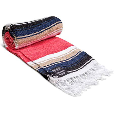 Authentic Handwoven Yoga Blanket Saddle Blanket Red Picnic Blanket Camping Blanket Sudadero para Caballo Mexican Falsa Blanket 52 X 77 Handcrafted by Mexican Artisans. Navajo Blanket