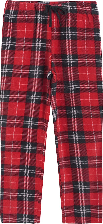 Latuza Women's Fleece Plaid Pajama Pants with Pockets