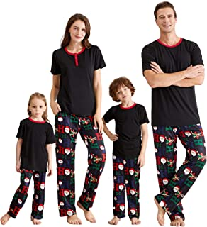 Matching Family Pajamas Sets Christmas PJ's with Short Sleeve Black Tee and HOHOHO Print Pants Loungewear