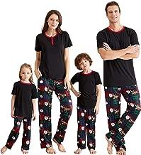 Yaffi Matching Family Pajamas Sets Christmas PJ's with Short Sleeve Black Tee and HOHOHO Print Pants Loungewear