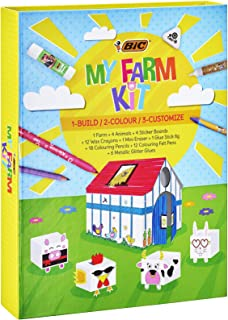 BIC Kids Kit de Coloriage - 12 Stylos Feutres/12 Craies de Coloriage/12 Crayons de Couleur/6 Colles Pailletées/1 Gomme/1 B...