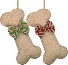 Cooraby 2 Pack Pet Dog Christmas Stockings Burlap Large Dog Bone Shape Christmas Stocking Fireplace Hanging Stockings for ...