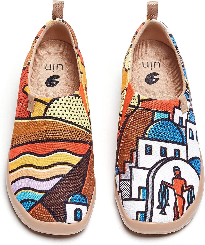 UIN Women's Flats 最安値 Canvas Lightweight Ons Walking C Slip Sneakers 安値