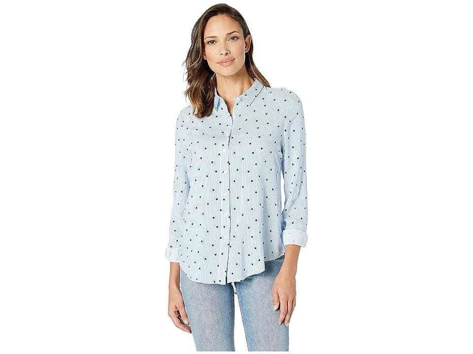Per Se Long Sleeve Button Down Shirt (Blue/White Star Stripe) Women's Clothing