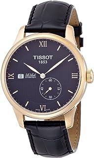 ساعة اوتوماتيكية للرجال من تيسوت بمينا ساعة اسود وسوار جلدي - T006.428.36.058.00