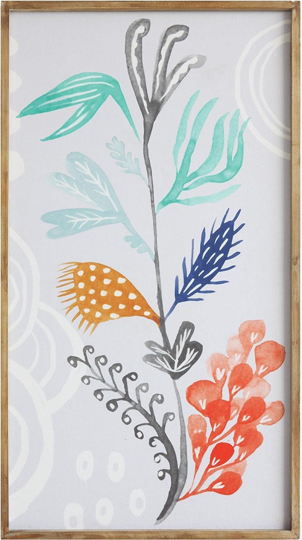 Creative Co-op Waterside Framed Flower Canvas Wall Décor, 4 Piece