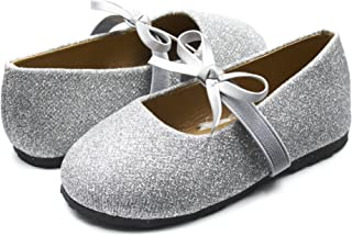 Sara Z Kids Toddlers Girls Glitter Ballet Flat Slip On Shoes with Elastic Strap and Bow (See More Colors and Sizes)