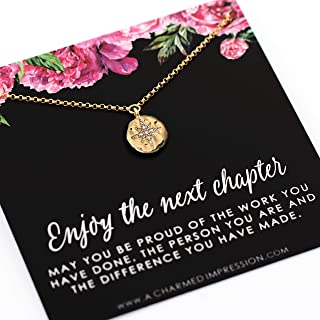 Retirement Gift for Women • Enjoy the Next Chapter • Diamond Starburst Pendant • 14k Gold • Congratulations • You'll be Missed • Be Proud of the Difference You Have Made