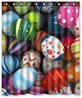 KXMDXA Custom Easter Eggs Happy Waterproof Fabric Polyester Shower Curtain 60X72 Inch