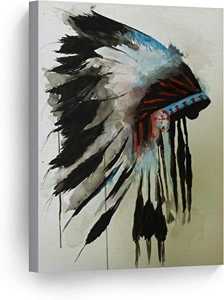 Indian Wall Art Native American Chiefs Headdress Feathered Watercolor Canvas Print Home Decor Decorative Artwork Gallery Wrapped Wood Stretched And Ready To Hang 100 Handmade In The USA 22x15