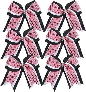 Cheerleader Bows 8 Inch 3 Layers 6 Pcs Ponytail Holder Jumbo Cheerleading Bows Hair Elastic Hair Tie for High School College (Black/White/Pink)