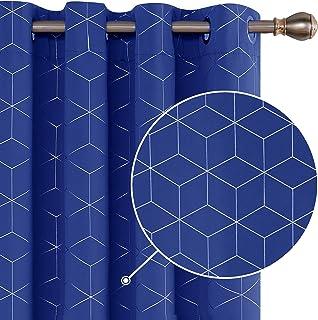Deconovo Cortinas para Ventana de Salón Dormitorio y Cocina Diseño de Rombo con Ollaos 2 Paneles 117 x 229 cm Azul