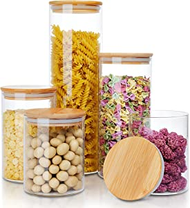 AIKWI Glass Food Storage Jars Containers Set, Pack of 5 Airtight Glass Storage Jars with Natural Bamboo Lids, Clear Glass Canister Food Jar with Sealing Lid Kitchen Pantry Storage Container for Spaghetti, Beans, Cereal, Snacks and More
