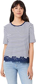 TOMMY HILFIGER Women's Lace Hem Organic Cotton T-Shirt, Knits We Stripeipe/Medieval Blue