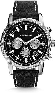 ساعة سكاوت للرجال بمينا اسود وبسوار جلدي من مايكل كورس - MK8310
