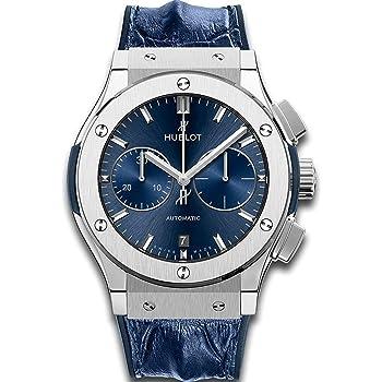 """Hublot Classic Fusion Automatic Titanium Chronograph, """"Blue Sunburst"""" Dial 45mm Mens Watch"""