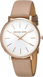 Michael Kors MK2748 Reloj para Mujer, Correa Piel Café, Caratula Blanco, Análogo