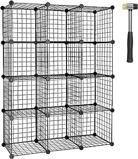 TUMUCUTE Wire Cube Storage Organizer, 12-Cube Modular Mental Grids Bookshelf, DIY Stackable Closet Cabinet for Bedroom Liv...