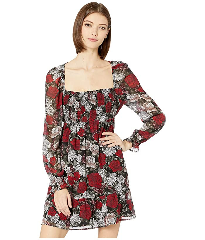 Jack by BB Dakota  I Touch Roses Winter Printed Crinkle Chiffon Square Neck Dress with Smocking (Black) Womens Dress