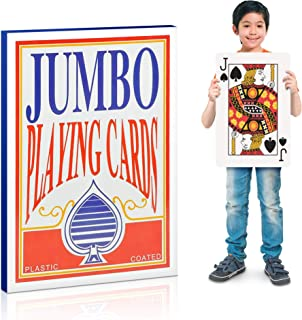 Gamie Jumbo Giant Poker Playing Cards Deck - 10.5 Inches X 14.5 Inches - Extra Large Card Set with 2 Jokers - Huge Casino Game Cards for Kids and Adults - Oversize Poker Party Decorations - 1 Pack