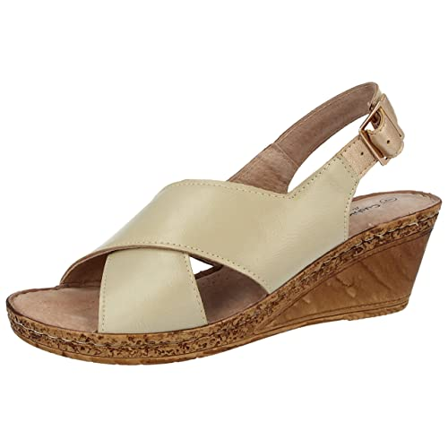 f215d6a0b66 Ladies Cushion Walk Wide E Fit Leather Lined Wedge Peep Toe Strappy Summer  Sandal Size 3