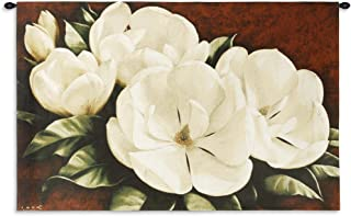Magnolia Crimson Cotton by Igor Levashov - Woven Tapestry Wall Art Hanging - White Magnolias with Warm Red Background - 100% Cotton USA Size 53x33