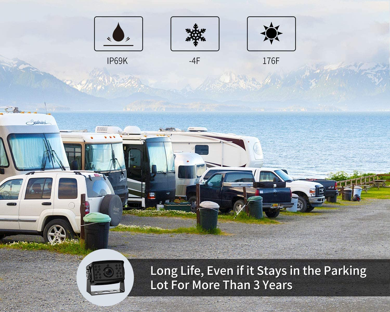 DY901-Wired Fookoo Ⅱ HD 9 Backup Camera System Kit,91080P Reversing Monitor+IP69 Waterproof Rear View Camera,Sharp CCD Chip 100/% Not Wash Up,Truck//Trailer//Box Truck//RV