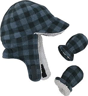 N`Ice Caps Little Boys and Baby Sherpa Lined Fleece Flap Hat Mitten Winter Set
