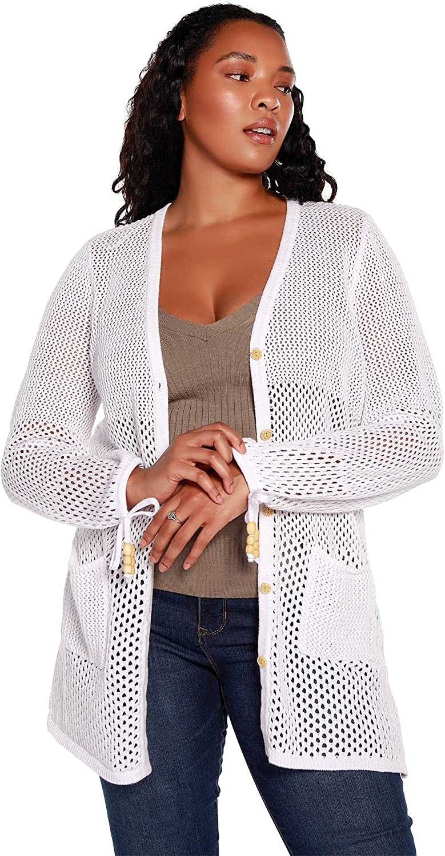 Women's Open Knit Button Front Cardigan   Curvy Plus Size