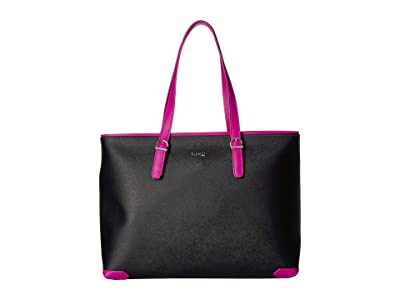 Lipault Paris Variation Shopper Tote (Black/Sweet Fuchsia) Handbags