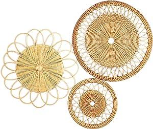 IWALYA Wall Basket Decor Set- 3 Pieces Flat Woven Baskets Great for Boho Wall Decor and Rattan Wall Decor- 7.8