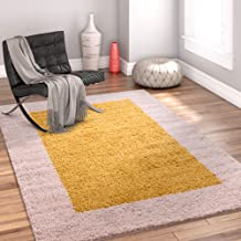 Well Woven Madison Cozumel Modern Border Gold Shag Thick Area Rug 3'3