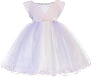 9011ef97da2 Little Baby Girls Adorable Pearl Neckline Jewels Tulle Flower Girl Dress  0M-3T