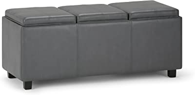 Simpli Home Avalon 42 inch Wide Rectangle Storage Ottoman in Upholstered Stone Grey Faux Leather, Coffee Table for the Living Room, Bedroom, Contemporary