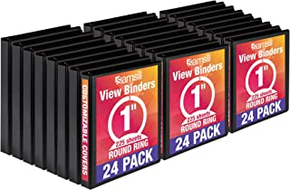 Samsill Economy 3 Ring View Binders, 1 Inch Round Ring, Customizable Clear View Cover, Black, Bulk Binders - 24 Pack