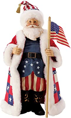 Department 56 Possible Dreams Jim Shore Patriotic Santa Stars and Stripes Figurine, 10.5 Inch, Multicolor