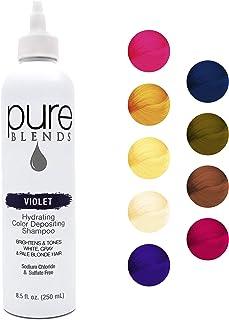 Pure Blends - Champú hidratante de color violeta con queratina y colágeno para reparar el cabello seco y dañado, elimina la decoloración del color, sulfato, cloruro de sodio, parabenos y sin gluten - 8.5 oz