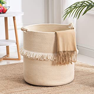 YOUDENOVA Large Woven Rope Storage Basket, Baby Nursery Hamper for Toy&Clothes, White Decorative Blanket Basket with Cute ...