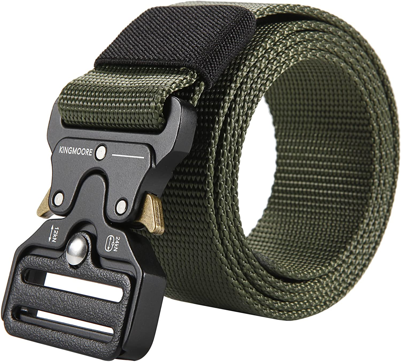 KingMoore Men's Tactical Belt Heavy Duty Webbing Belt Adjustable Military Style Nylon Belts