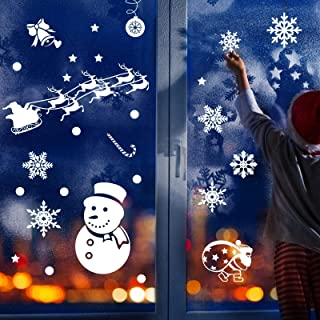 LANMOK Christmas Window Decoration, 12 Sheets Xmas Cling Decal Stickers White Winter Wonderland Decor Frozen Theme Party for Home Cafe Book Store Showcase