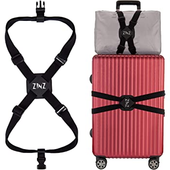 ZINZ 旅行便利グッズ バッグとめるベルト 便利グッズ 多用 調整可能 軽量 荷物用弾力固定ベルト ずり落ち防止 ブラック