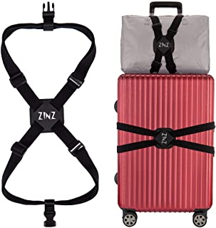 Luggage Strap, ZINZ High Elastic Suitcase Adjustable Belt Bag Bungees with Buckles and More Applications (Black-001)
