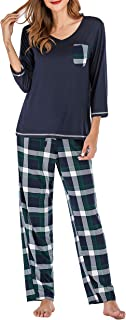 Womens Pajama Set V Neck 3/4 Sleeve Top & Pants Plaid Bottoms Sleepwear Pjs Sets