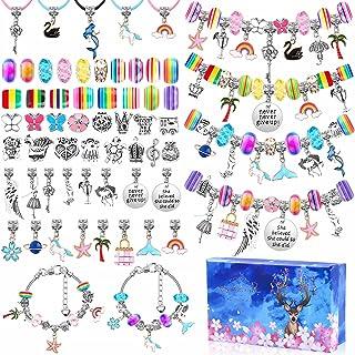 110 Pcs Charm Bracelets Making Kit for Girls, Thrilez Charm Beads Bracelet Jewelry Kit with Bracelets, Beads, Jewelry Char...