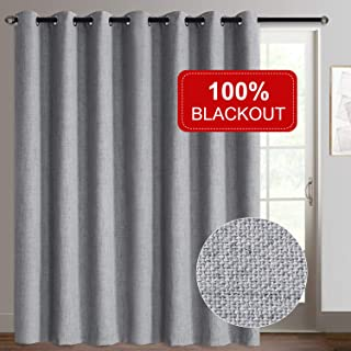 Rose Home Fashion Sliding Door Curtains, Primitive Linen Look 100% Blackout Curtains, Thermal Insulated Patio Door Curtains-1 Panel (100x84 Grey)