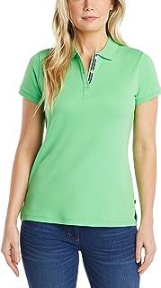Nautica womens 3-Button Short Sleeve Breathable 100% Cotton Polo Shirt Polo Shirt