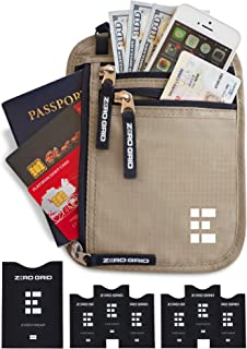 Zero Grid Neck Wallet w/RFID Blocking- Concealed Travel Pouch & Passport Holder (Desert Sand)