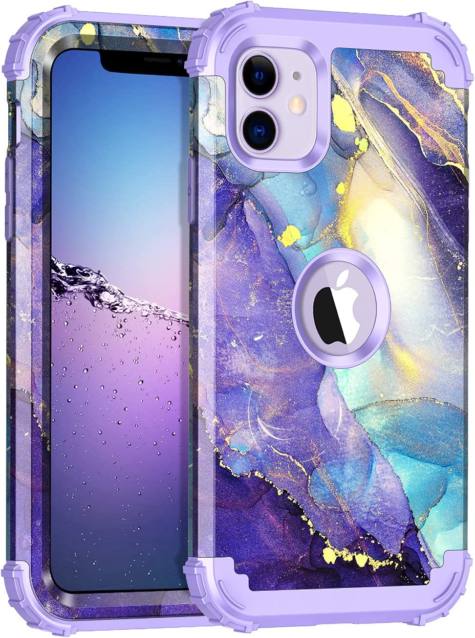 Rancase for iPhone 11 Case,Three Layer Heavy Duty Shockproof Protection Hard Plastic Bumper +Soft Silicone Rubber Protective Case for Apple iPhone 11 6.1 inch,Purple