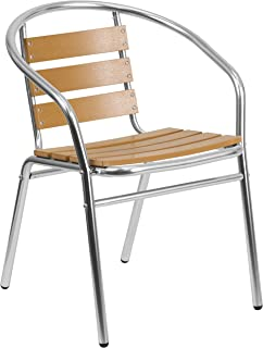 Flash Furniture Commercial Aluminum Indoor-Outdoor Restaurant Stack Chair with Triple Slat Faux Teak Back